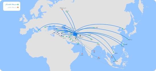 نقشه مسیرهای پرتردد پروازی